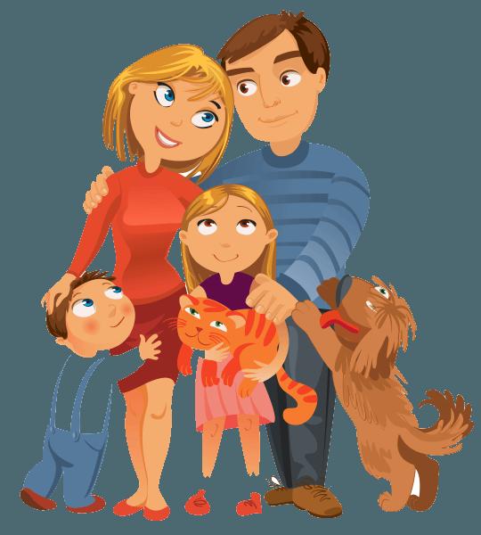 illustration famille avec animaux